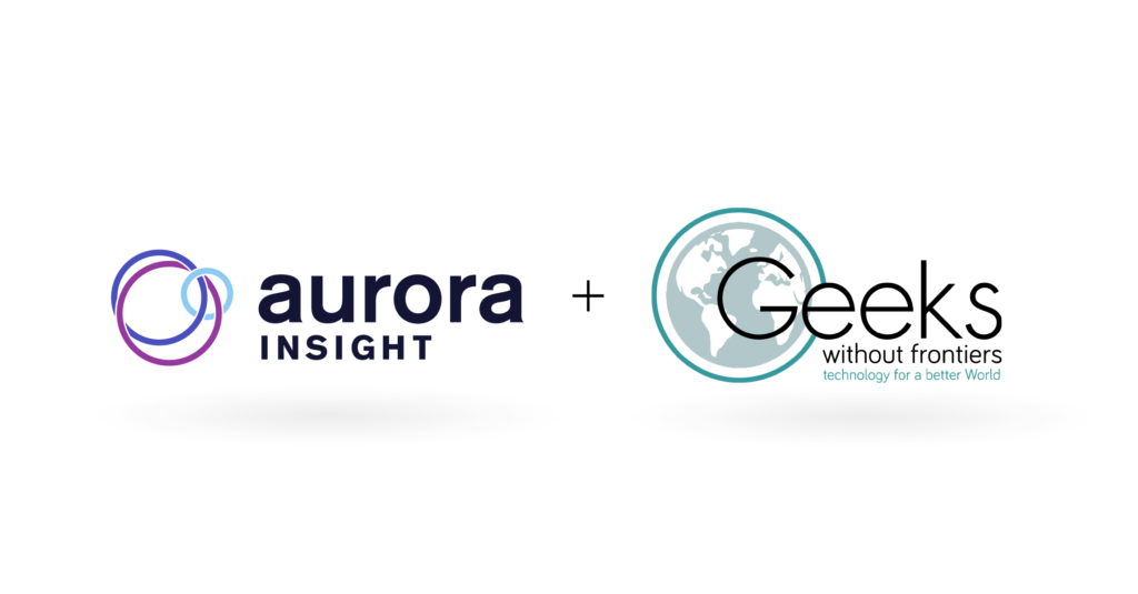 Partnership announcement with Logos for Aurora Insight and Geeks Without Frontiers